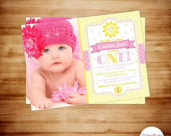 Sunshine 1st Birthday Invitation - Sunshine 1st Birthday Invite - Sunshine Birthday Photo Card - PERSONALIZED & PRINTABLE