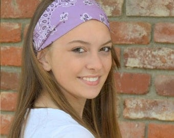 Trendy Bandana Lavender Wide Bandanna Head Wrap Headband Purple Cloth Bandana Stretch Bandanna for Women Yoga Bandanna (#4008) S M L X