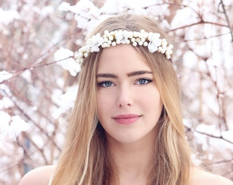 ivory pearl hair crown, pearl headpiece, wedding headband, cream headband, bridal headpiece, wedding headpiece, boho hair accessories