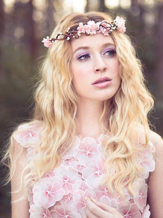 wedding headpiece, flower crown, bridal headband, wedding headband, bridal headpiece, wedding accessories, cherry blossom flower crown