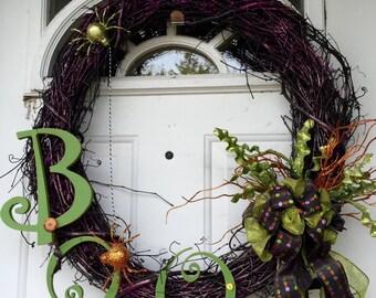 Grapevine Halloween BOO Wreath