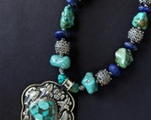 On Sale Large Repousse Silver Tibetan Pendant Necklace with Chunky Turquoise Nuggets, Ornate Ethiopian Silver, and Lapis Ethnic Gemstone Jew