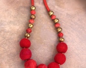 Red Felt Ball Necklace Large Red Balls w Golden Ethiopian Brass and Vintage African Snake Glass Chunky Tribal Jewelry