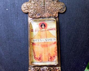 Votes For Women, vintage suffragette necklace, handmade, custom, OOAK