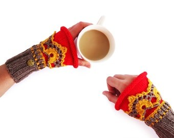 Boho Fingerless Gloves. Wrist Warmers. Fingerless Lace Gloves of Merino Wool Gloves & Mittens