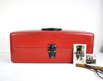 Vintage Red Metal Toolbox / Old Tackle Box / Industrial Storage