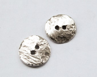 6 Buttons - Silver plated Cornflake button beads Casting 16mm textured rustic buttons for your knitting / crocheting diy craft supplies