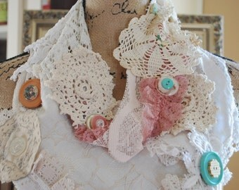 Shabby chic Mori girl vintage lace and doilie infinity scarf