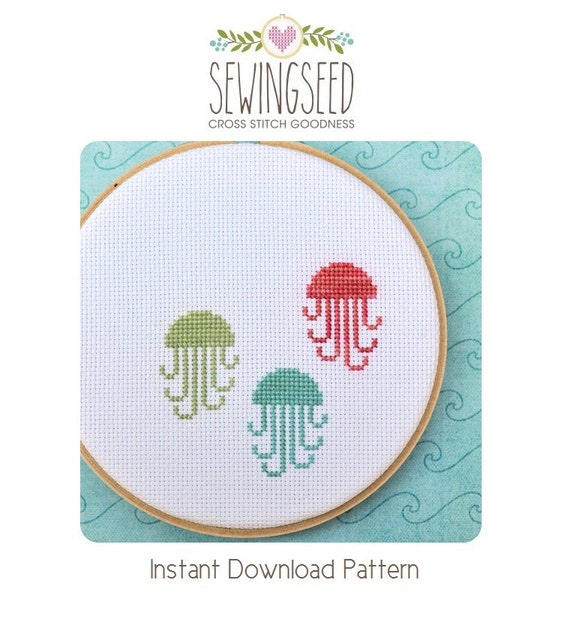 Jellyfish Counted Cross Stitch Pattern, Instant Download