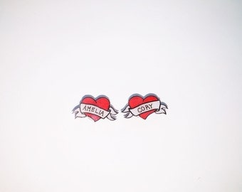 Custom tattoo heart stud earrings, valentines day gift, mothers day gift, made to order