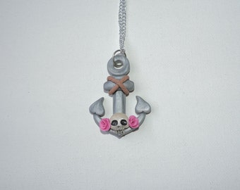 Clearance, half off, Anchors Away Necklace with skull and roses