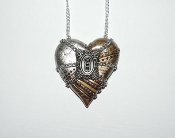 CLEARANCE, half off, Large industrial steampunk chained locked heart necklace valentines day gift