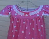 Girls' NIGHTGOWN, Size 4/5 // 100% Cotton-Knit // Long-Full Length, Pink Heart Sleepwear, Eyelet Trim//Ready to Ship//see size 6, 8, 10 also