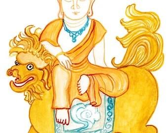 Buddha, Manjuseri, Monju Buddha of Wisdom, Zen Art, Brush Painting Original, Buddhist art, zen illustration, zen decor, tao, japanese art