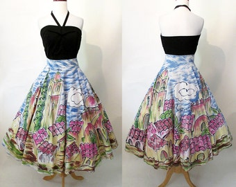 Adorable 1950's Hand Painted Mexican Circle Skirt with Village Scene Rockabilly Vintage Western VLV Pinup Girl Mexi Skirt Size-Large