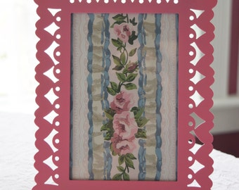 Vintage Romantic Shabby Chic Victorian Pink Roses Framed Wallpaper with Bubblegum Pink Scrolly Heart Frame Girly Girl Metal Cutout Diecut