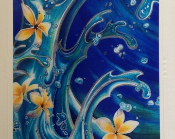 Blue hawaii Christie Marie Art- SET OF 5 Tropical Plumeria Flowers waves One Embossed blank Art Greeting Cards,  envelopes Hawaiian style