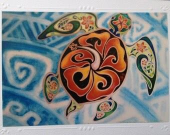 SET OF 5 Art Print Greeting, Note Card, Blank inside Hawaiian Tropical Sea Turtle, Tribal, Honu, Tortuga Art By artist Christie Marie Elder