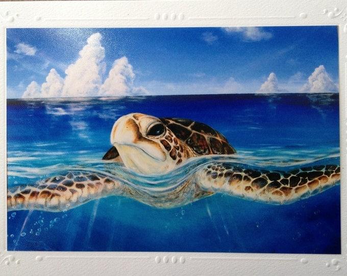 A Peace of Tropics Sea Turtle Art Card SET OF 5, Art print Greeting Cards, Note Card  w/ envelope Hawaiian Sea Turte Christie Marie Art