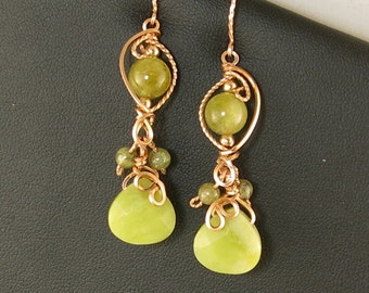 Olive Green Jade and Garnet Rose Gold Dangle Earrings, Rose Gold Unique Wire Gemstone Earrings