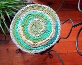 "round rag rug chair pads ""braided"" crochet rag rug Set of 2-  15""  shabby chic #4"