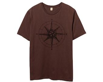 CLEARANCE SALE - Mens Compass TShirt - Nautical Shirt - Mens Brown Shirt - Small, Medium, Large, XL, 2XL
