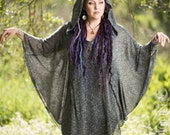 NEW Plus Size Available: The Sweater Knit Hooded Sparkle Poncho with Pockets in Indigo Blue or Pale Pink Heather (Free Size 1 or 2)