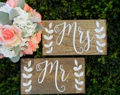 Mr. and Mrs. Chair Signs Rustic Wood Chair Signs Photo Props Shabby Chic Woodland Wedding Signs Mr. Sign Mrs. Sign Wooden Wedding Signs