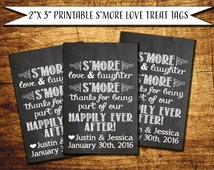 S'More Love Favor Tags PRINTABLE PDF JPEG Treat Tags Chalkboard Printable Tags S'More Love S'More Laughter S'more Happily Ever After