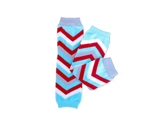Aqua Red Gray and White Chevron leg warmers. Baby Leg Warmers. Boy Leg Warmers.