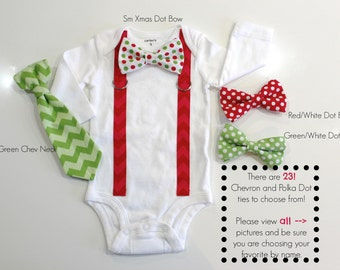 Christmas Bow tie. Boys christmas shirt. Tie and suspenders outfit. Boys Christmas Clothes. Newborn Baby Toddler Infant Boy.