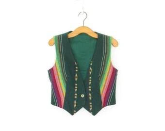 Wool Folk Vest * Rainbow Striped Vest * Vintage Waistcoat * Large