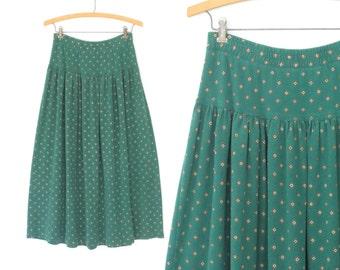 Vintage Knit Skirt * Spruce Green 80s Skirt * Dropwaist 80s Skirt * Foulard Print * Medium - Large
