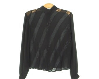 Sheer Lace Blouse * Victorian Gothic 90s Blouse * J Peterman Blouse * Medium / Large