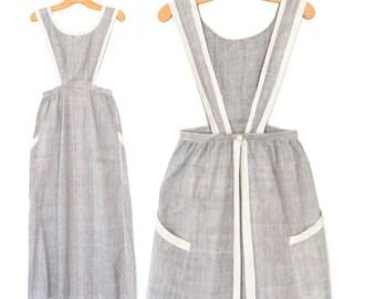 Antique Pinafore Apron  * Vintage Chambray Servants Apron * Edwardian Apron Dress * XS Small