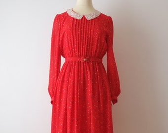 SALE - Vincennes, red vintage dress, Japan, xs