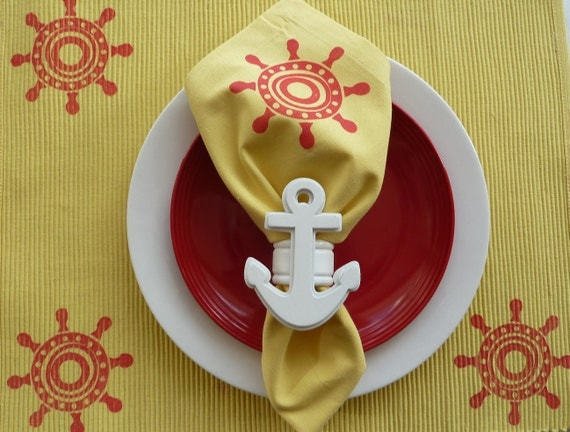 Yellow and Red Nautical Placemats - Set of 4