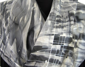 """Black and White + Shades of Grey art silk scarf """"Keyboard"""". Hand painted silk scarf with OOAK grid lines pattern. Elegant scarves for ladies"""