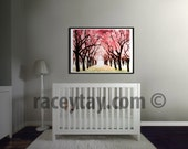 Girl Nursery Decor, Pink, Cherry Trees, Nature Photography, Large Wall Art, Cherry Blossom Nursery Print