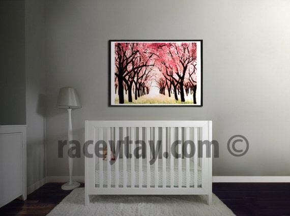 Girl Nursery Decor, Pink, Cherry Trees, Nature Photography, Large Wall Art, Cherry Blossom Nursery Print