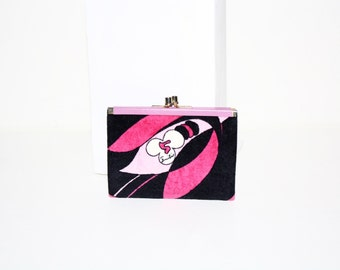 EMILIO PUCCI Vintage Coin Purse Velvet Leather Kisslock Wallet - AUTHENTIC -