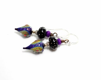 Deep Purple Glass Bead Earrings. Artisan Headpins. Lampwork Bead Earrings. SS Bali Beads. Glass Bead Jewelry.