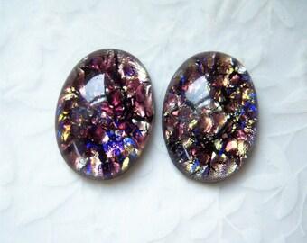 1 - Amethyst opal 25x18mm Czech glass cabochon - GG188