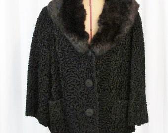 Vintage Coat: Black Persian Lamb with Fur Collar