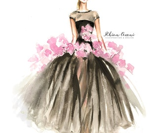 Instatnt Downloard Fashion Illustration - Giambattista Fashion Sketch - Digital Print - Home Decor - Couture - Runway - Floral Print