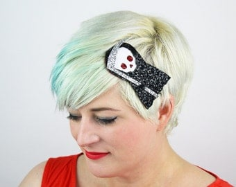 SALE - Cute Death Headband, Glitter, Halloween, Black - Christmas In July CIJ