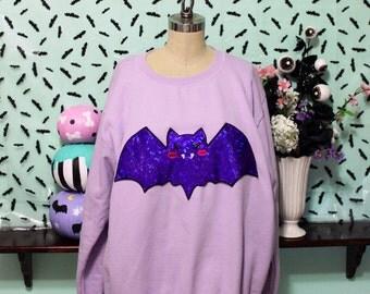 Pastel Goth Holographic Kawaii Vampire Bat Oversized Sweatshirt