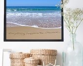 Beach Office Decor - Everything happens for a reason sign - Beach typography sign - Inspirational Sign - Encouragement Sign - Blue Ocean