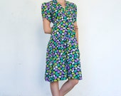 Vintage Givenchy Nouvelle Boutique Early 1980's Cotton Polka Dot Print Puff Sleeve Sun Cocktail Dress S/M