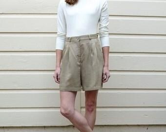 Vintage Safari 1980's Khaki Tan Tencel High Waisted Shorts S/M 28